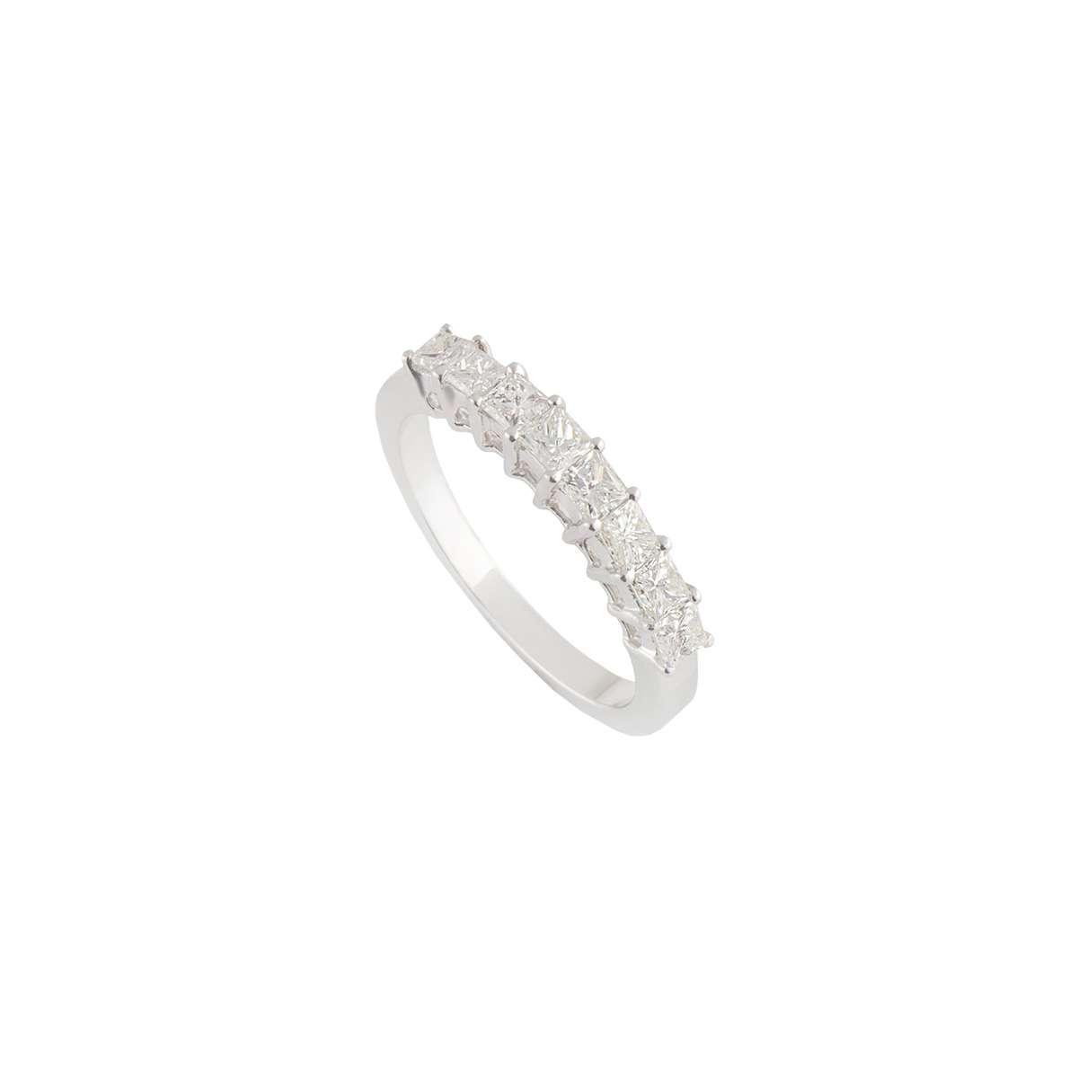 18k White Gold Diamond Half Eternity Ring 0.97ct